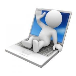 Dessin d'un personnage blanc sur un ordinateur portable